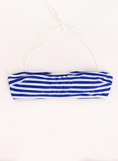 Arnetta  Lacivert Marin Desenli Straplez Bikini Üstü Lacivert